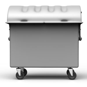 grey garbage container isolated on white background.